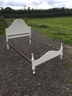 1940's 1950's Old Vintage Antique Louis Style Painted Bed Needs Slats 31/8/L