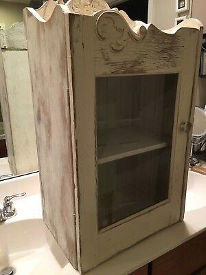 Vintage WOOD CABINET CUPBOARD bathroom medicine shabby cupboard