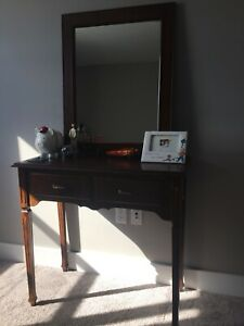 solid wood table and matching solid wood frame mirror