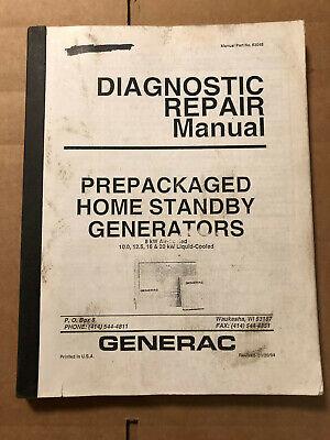 Generac 83045 Prepackaged Standby Generators Diagnostic Repair Manual