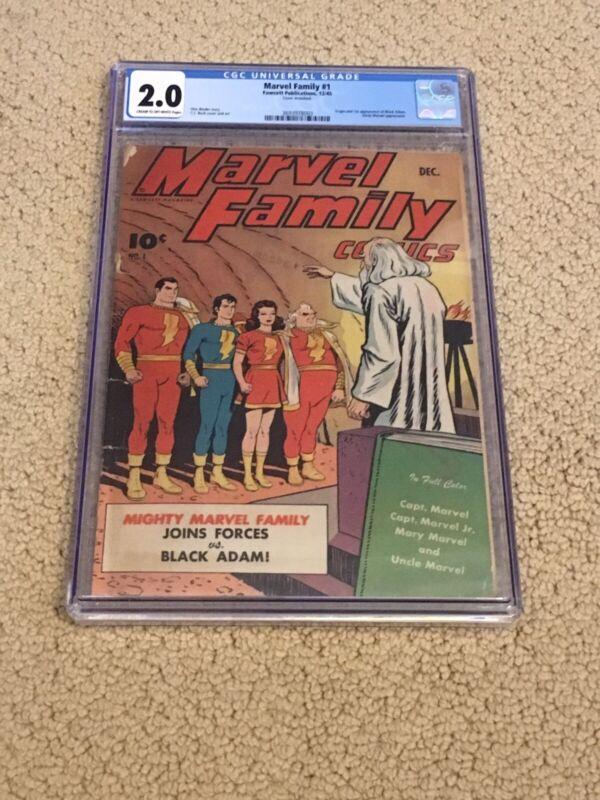 Marvel Family 1 CGC 2.0 (Mega Key- 1st app of Black Adam- 1945!!) + magnet