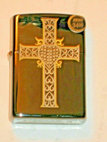 New ZIPPO Windproof oil Lighter Jewelry Heart & Cross Jesus Loves U 041689127794
