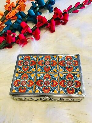 Mexican Folk Art Hand Painted Tile Punched Tin Jewelry Trinket Box Art Tile Trinket Box