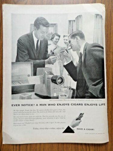 1956 Cigar Ad A Man Who Enjoys Cigars Hint to Hostesses Provide Cigars for Men