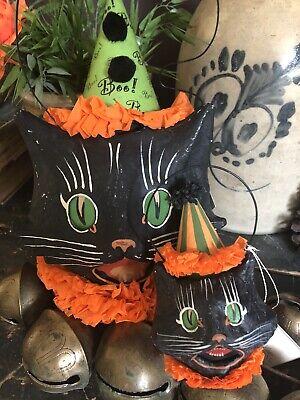 New LG Vintage Style Bethany Lowe Halloween Candy Bucket Lantern Paper Mache Cat