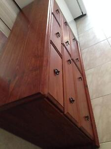 HIGH QUALITY LARGE STRONG SOLID WOOD 7 DRAWERS LOWBOY/TV CABINET Coburg Moreland Area Preview
