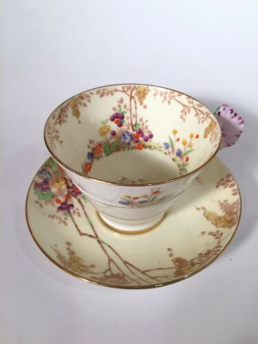 Paragon Pansy Flower Handle Tea Cup and Saucer Pebble Wisteria Gilt Gold