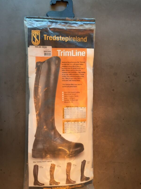 """New with Tags! Tredstep TrimLine Brown Leather 15"""" calf, 17"""" height Half Chaps"""