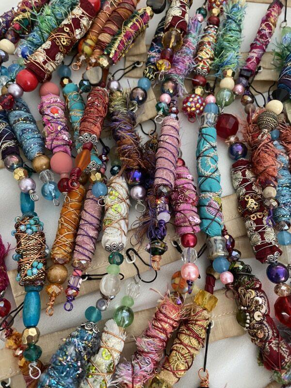 BOHO FABRIC BEADS/ Journal Charms / Dangles *Handmade