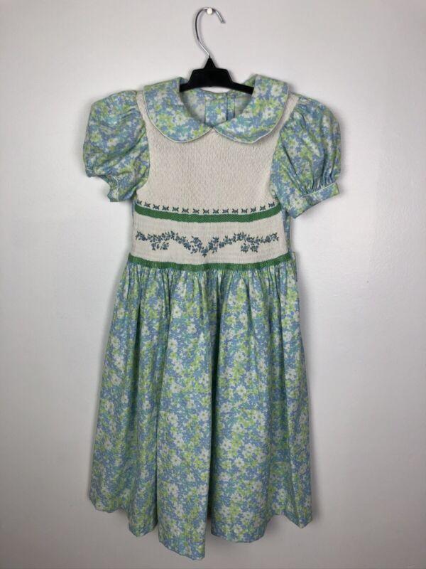 Vintage Handmade Girls Dress Blue Green Floral Smocked Embroidered