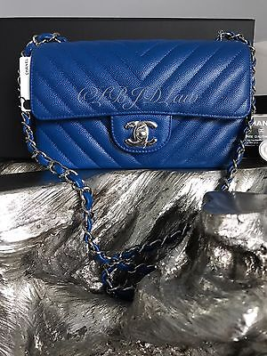 NWT CHANEL 2017 Rectangle Mini BLUE Caviar CHEVRON Silver Classic Flap BLEU ROI