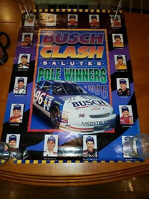 1995 NASCAR Clash Dale Earnhardt Busch Beer Racing Advertising Poster Sign VTG