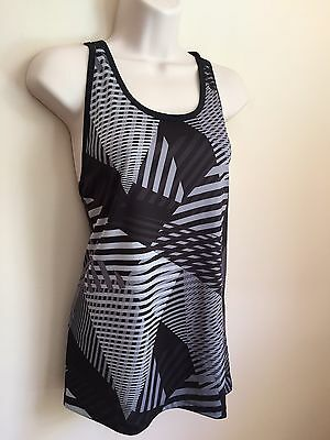 Gap Fit Black and Gray Print Multi-Strap Fitness Tank Top Size L XL XXL