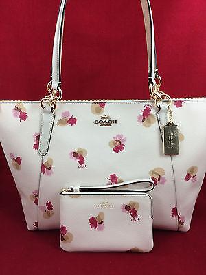 New COACH F55192 AVA Field Floral Canvas Tote Handbag Purse Shoulder Bag +Wallet