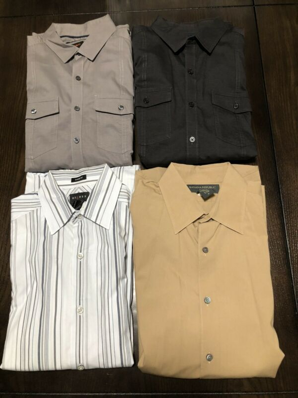 Mens Long Sleeve Button Down And Casual Shirts  / Lot of 4 / Size Medium
