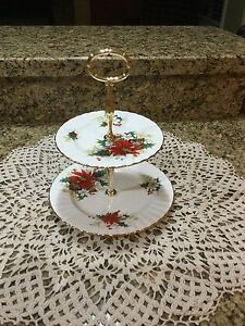 Vintage Royal Albert Poinsettia Two Tier cake plate