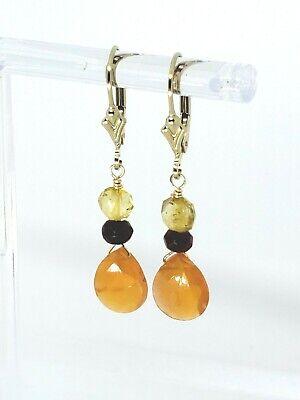 14k Yellow Gold Filled Carnelian Briolette, Garnet and Citrine Dangle Earrings