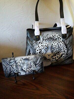 Anuschka Anna African Leopard Twin Zip Top Tote W/Wallet NWT