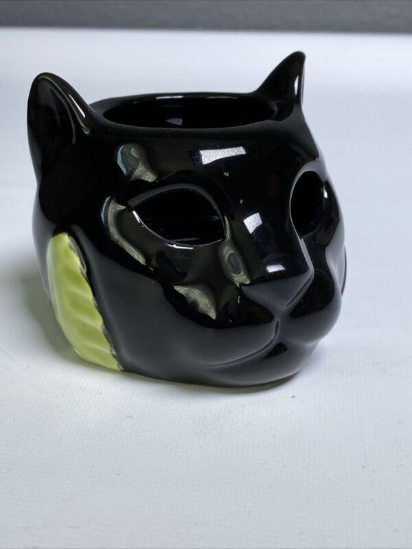 """Vintage 1987 Vendor Cat Votive Candle Holder 2.5"""" Black"""