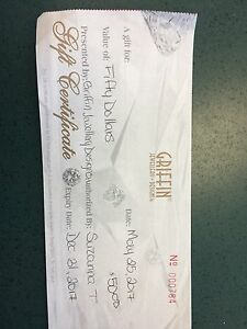 $50.00 Gift Certificate Griffin Jewellery Designs Quinte Mall