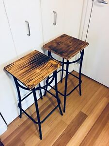 RECLAIMED WOOD BAR HEIGHT STOOLS VINTAGE INDUSTRIAL KITCHEN