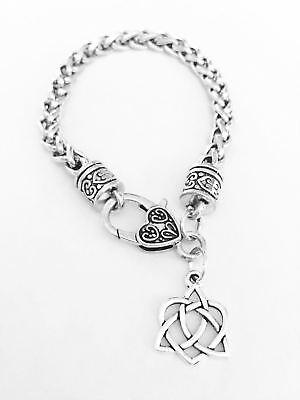 Celtic Knot Charm Bracelet Heart Irish Friendship Loyalty Gift For Her Jewelry ()