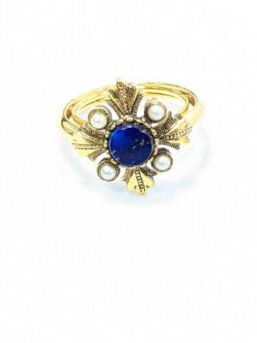 Vintage Avon Gold Tone Blue Lapis Lazuli Stone Faux Pearl Ring Size 6
