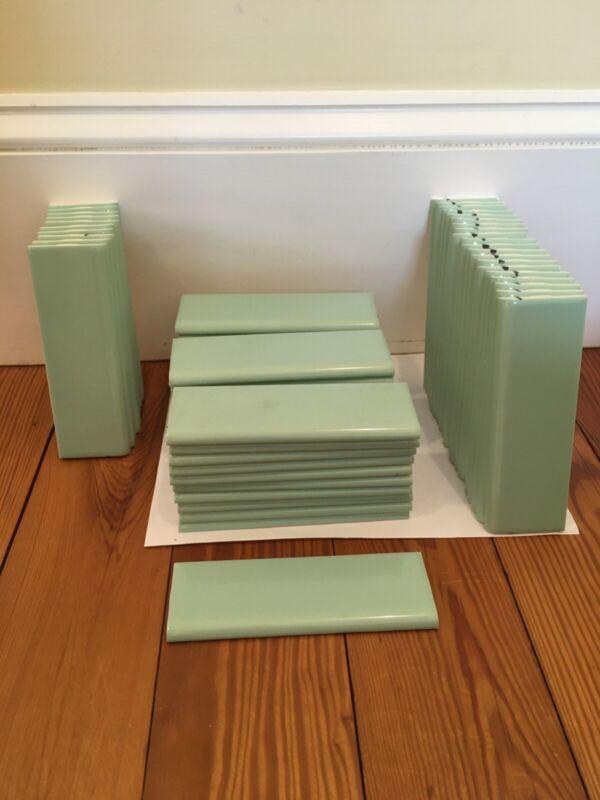 10 Seafoam Bullnose Edging Border Tiles Vintage Style 2x6 New Old Stock 4x4 2x2