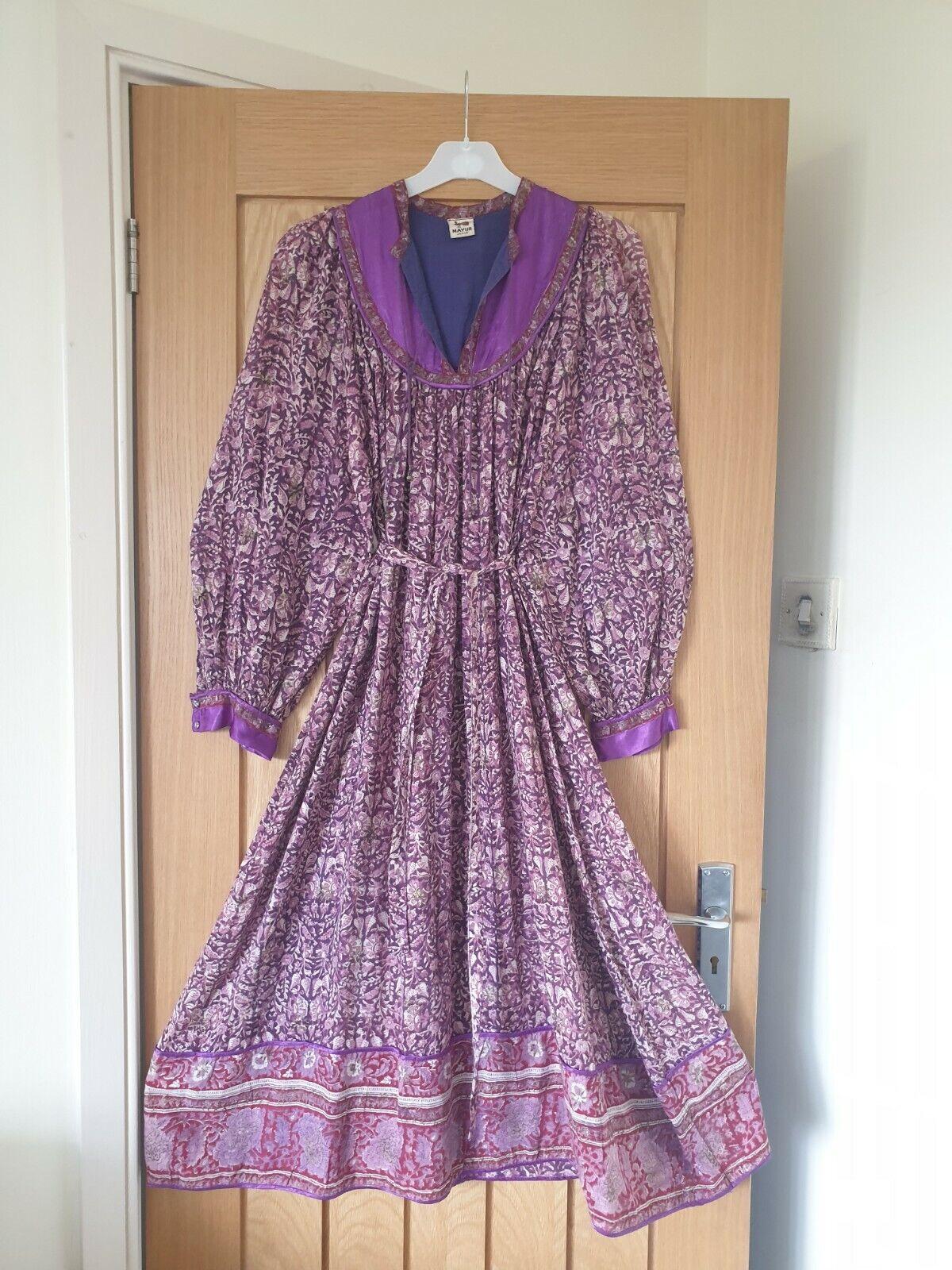 vtg indian cotton block print dress mayur s m tent 70s hippy boho smock 60s boho