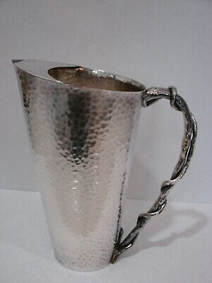 Michael Aram Hammered Pitcher with Twig style Handle, Signed