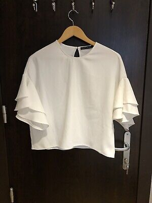 Zara White Short Sleeve Blouse Size XS