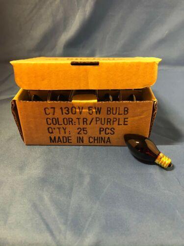 NEW BOX of 25 OUTDOOR C7 TR/PURPLE CHRISTMAS 5W LIGHT bulbs 130V brass