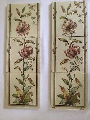 Double run 6 Victorian fireside tiles lily design each tile 150cm by 150cm
