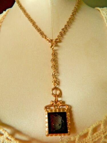 1880 ANTIQUE VICTORIAN 10K ROSE GOLD GF BOOK CHAIN NECKLACE & STONE INTAGLIO FOB