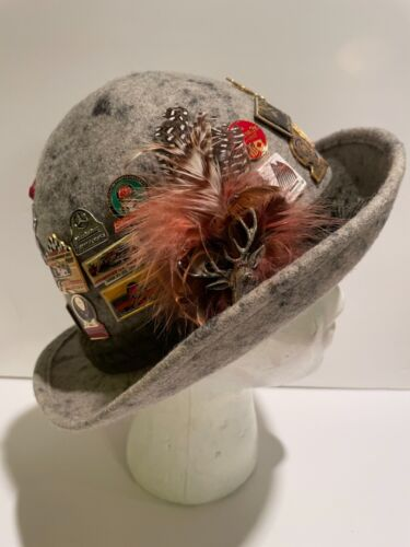 Vintage Felted Wool Hat Alpine Tyrolean with 35 Souvenir Travel Pins