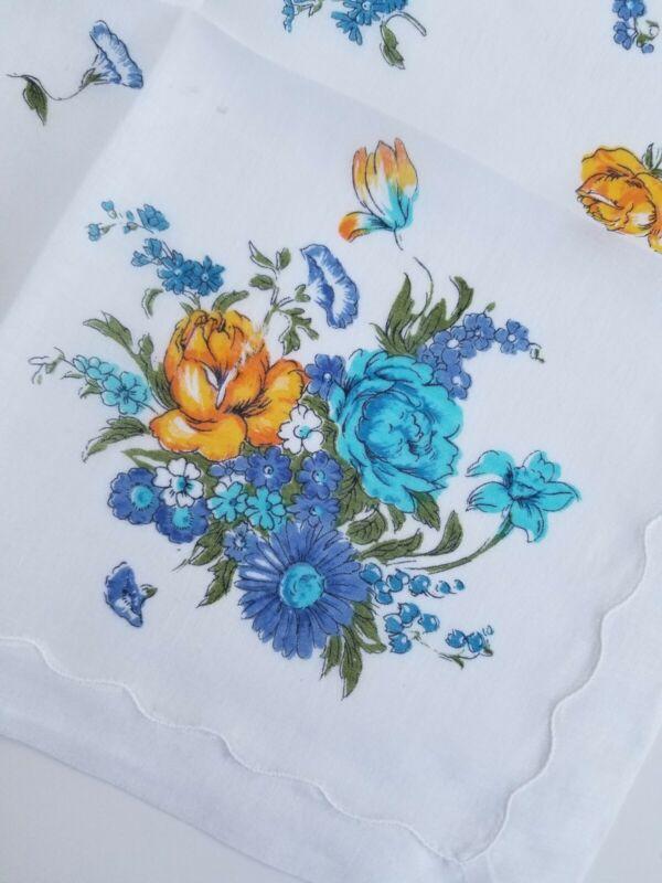 Vintage Ladies Hankie Blue Floral
