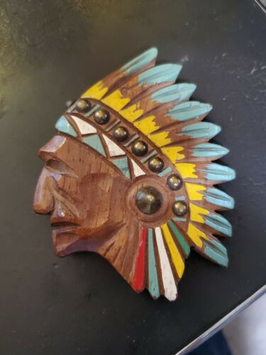 Native American Indian Chief Folk Art Wooden Pin Brooch HM Paint Wood Brass EXC!
