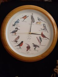 AUDUBON 13 SINGING BIRD CLOCK w/ 12 Popular North American Song Birds OWL WREN
