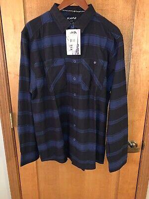 New KAVU Bennet Shirt Casual Fit Long Sleeve Button Up Plaid - XL - Blue
