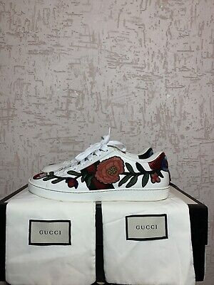GUCCI Ace Floral Embroidered White Leather Sneakers Shoes Low Top  - Size 8.5