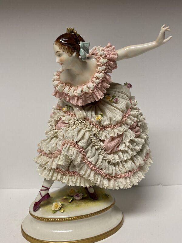 LARGE ANTIQUE 19th CENTURY VOLKSTEDT PORCELAIN BALLERINA FIGURINE..DRESDEN LACE