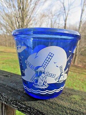 (Vintage Barware Cobalt Blue Depression Glass Ice TUb or Bowl Windmill Pattern)