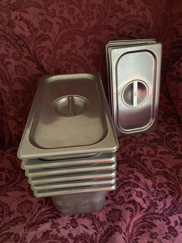 """(6) 1/3 Steam Table Pans With / Solid Covers 6"""" tall"""