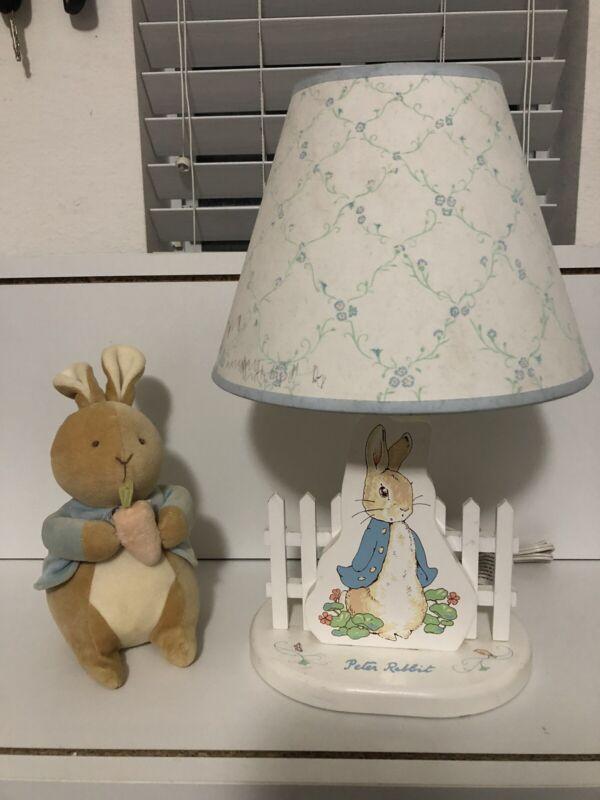 Vintage Beatrix Potter Peter Rabbit Baby Nursery Lamp/Shade, Night Light + Plush