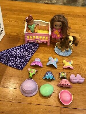 Fisher Price Snap N Style Baby DollvLot Crib,,outfits, dog girl