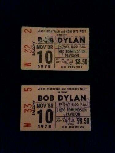 BOB DYLAN CONCERT TICKET STUBS NOVEMBER 10, 1978 HEC ED. PAVILION SEATTLE, WA