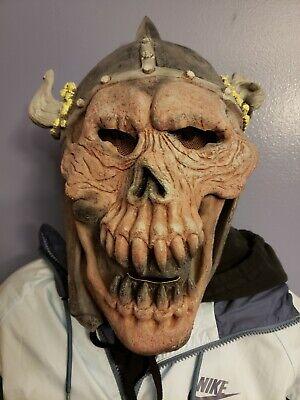 Vtg 1996 Viking Skull Mask Horned Helmet Halloween Latex Horror Skeleton Adult (Viking Halloween Mask)
