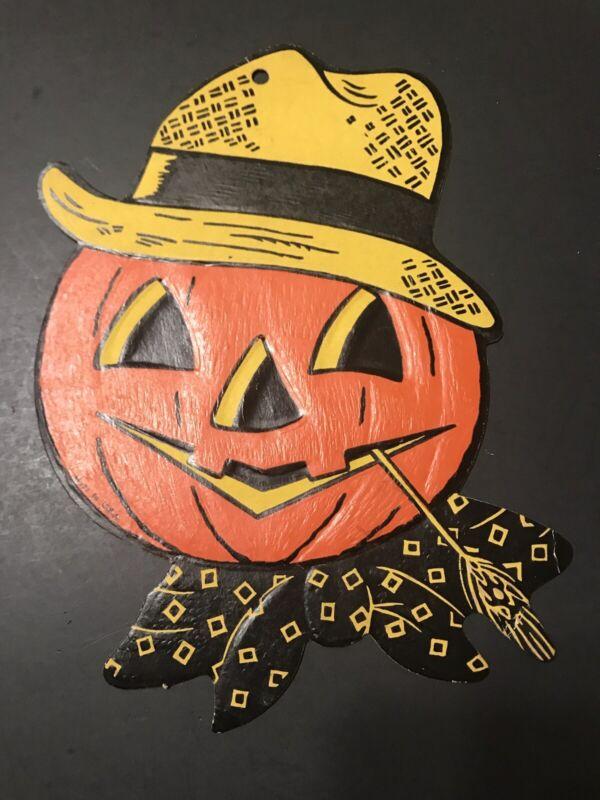 Vintage HALLOWEEN embossed die cut decoration Jack-o-Lantern Pumpkin Straw Hat