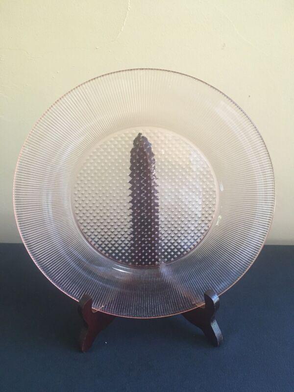 """Vintage Jeannette HOMESPUN Pink Depression Glass 9-1/4"""" Dinner Plate"""