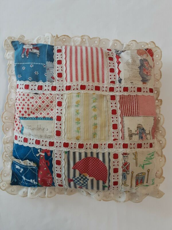 """Vintage Handmade Patchwork Tooth Fairy Pillow W/Pocket Embroidered """"My Tooth"""""""